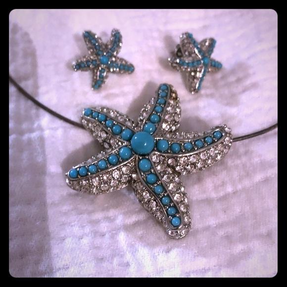 Stella & Dot Jewelry - Starfish pendent and earrings Stella and Dot